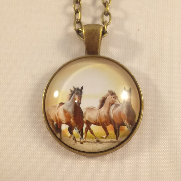 Other - Bronze Gold Horses Glass Cabochon Necklace